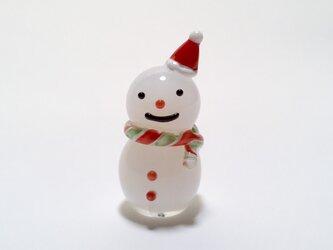 ガラス クリスマス 雪だるま サンタ帽子 ミニの画像
