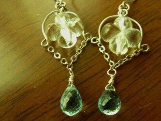 天然石(宝石質)のピアス スカイブルートパーズ、水晶の画像