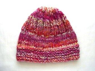 SALE 手紡ぎ糸のニット帽 H-089の画像