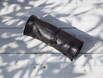 本革くるくる巻くペンケース ブラック 手作り【受注生産】の画像