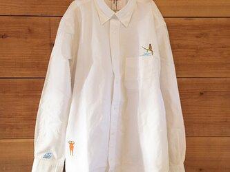 波待ちSURF 刺繍 ボタンダウン OX長袖シャツの画像