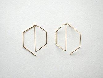 Hexagon shape pierce 14kgf ピアスの画像