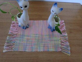 手織りテーブルセンター 黄色×ピンクミックスの画像