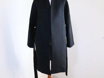 新作【ブラック】ウールノーカラーウエストベルト付コート♥の画像
