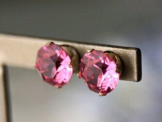 【大粒】14kgfスワロフスキービジューピアス ピンクの画像