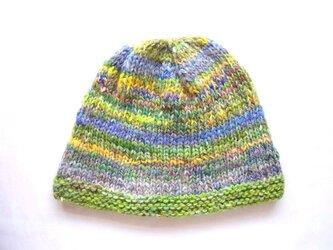 SALE 手紡ぎ糸のニット帽 H-083の画像