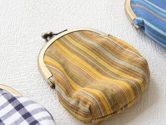 がま口中(黄ストライプ) ‐伊勢木綿-の画像