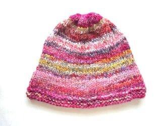 SALE 手紡ぎ糸のニット帽 H-090の画像