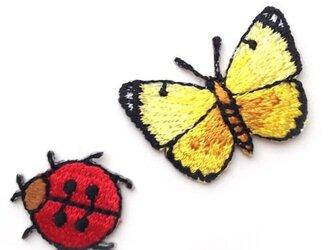 アップリケワッペン-バグ セット(蝶・てんとう虫)4枚 W-0476の画像