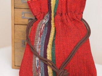 裂き織り 巾着ポシェット(紅色)の画像
