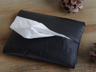 送料無料☆革のポケットティッシュケース・ブラックの画像