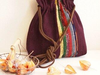 裂き織り 巾着ポシェット(葡萄色)の画像