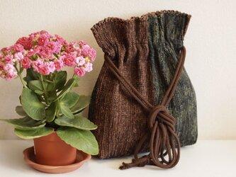 裂き織り 巾着ポシェット(茶/利休鼠)の画像