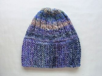 SALE 手紡ぎ糸のニット帽(スリット付) H-076の画像
