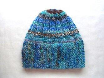 SALE 手紡ぎ糸のニット帽(スリット付) H-091の画像