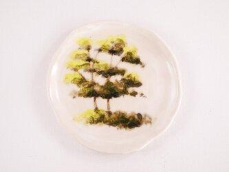 陶板画-思い出の新緑-下絵付けによる風景画の画像