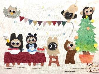ぽんすけたちの「クリスマスの準備!」(ポストカード)の画像