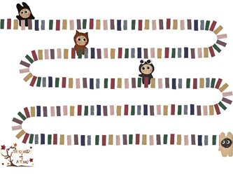 ぽんすけたちの「ドミノ!」(ポストカード)の画像