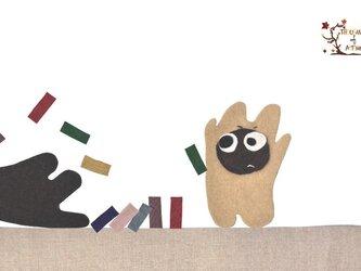 ぽんすけたちの「ドミノ! びっくりごんすけ」(ポストカード)の画像