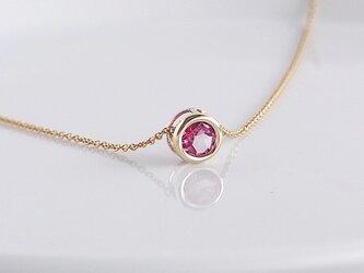 天然石ピンクトパーズのネックレスの画像