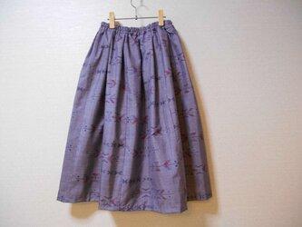 薄紫色の大島紬リメイクスカートの画像