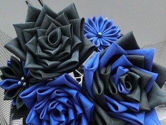 つまみ細工 青薔薇のかんざしの画像