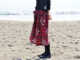着物リメイク・銘仙のリボンスカート(チェック柄・M~L)の画像