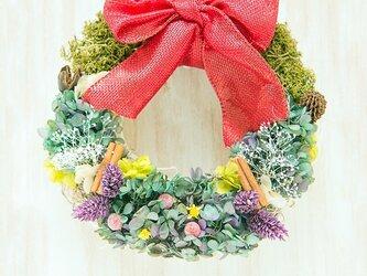 プリザーブドフラワークリスマスナチュラルリース*アンティーク洋書クリスマスラッピング付♡の画像