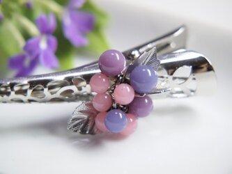 お花のヘアクリップ 小 ピンク&紫の画像