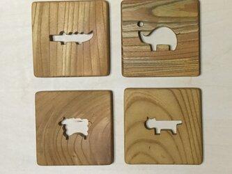 森のクマさんカフェのコースター動物1【受注制作】の画像