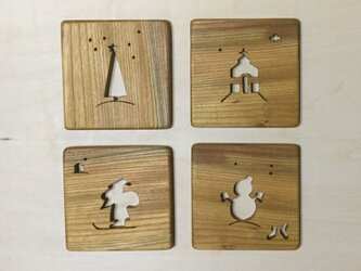 森のクマさんカフェのコースター クリスマス【受注制作】の画像