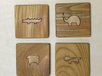 森のクマさんカフェのコースターカトラリー置き付き 動物1b【受注制作】の画像