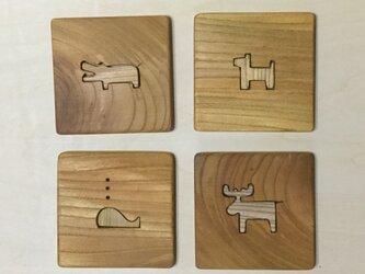 森のクマさんカフェのコースターカトラリー置き付き動物2b【受注制作】の画像