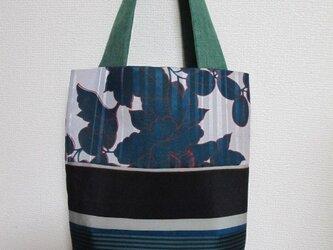 sac6 グリーンの花と縞のトートバッグの画像