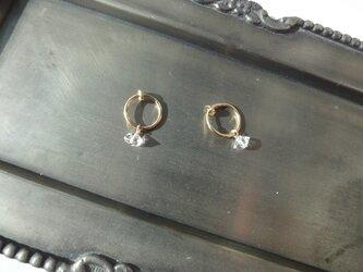 ハーキマーダイヤモンドのフープイヤリングの画像