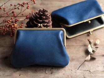 藍染革[migaki] 真鍮金具15mm がま口ポーチの画像