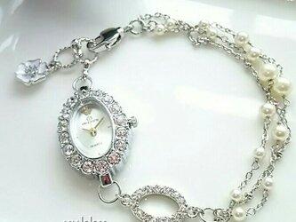 【再販】<受注制作>ブレス時計[石付](ホワイト×オーバル)シルバー*パールの画像