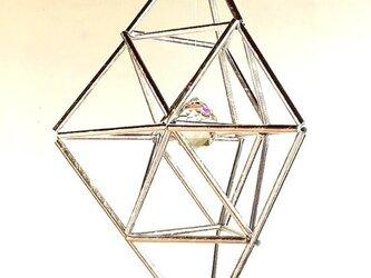 菱形 幾何学オブジェ(ヒンメリ) サンキャッチャー シルバー&ゴールド クリスマスオーナメントなどにの画像
