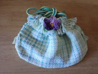 手織り小さな可愛いちょっとした物入れ巾着ポーチの画像