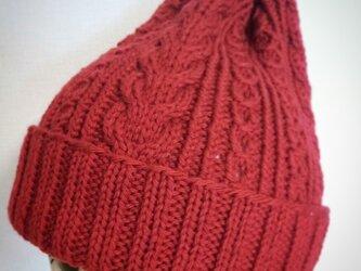 再販☆洗濯機で洗えるアラン模様のニット帽【赤】の画像