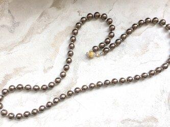 Noble*brownコットンパール(10mm珠)コンビカラーマグネットロングネックレスの画像