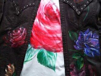 薔薇のジャケット+Tシャツ(ブラウス)《手描きオーダーメイド作品》の画像