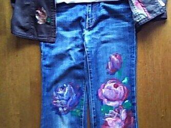 薔薇のジャケット+Tシャツ(ブラウス)+パンツ《手描きオーダーメイド作品》の画像