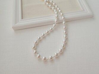 【8㎜&3㎜】ホワイトパールネックレスの画像