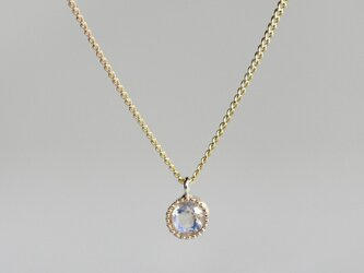 K18 Moon stone birth stone pendant {P033K18RM}の画像