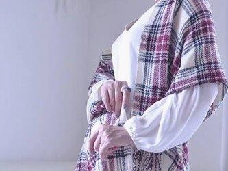 手織り*カシミヤタータンチェックストール 146の画像