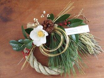 椿のしめ縄リース 正月飾りの画像