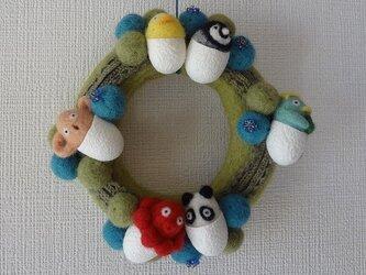 【受注制作】羊毛フェルトのモコモコリース(グリーン) CS0098の画像