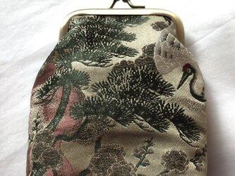 がまぐち・角型 小  グリーン帯地 鶴柄の画像
