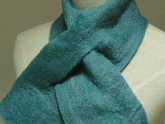 青磁色ミックスの フェルトマフラー ミニの画像